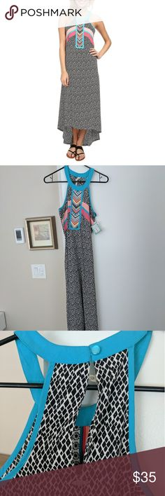 SALE! NWT Rip Curl Mystic Tribal Dress This is basically a maxi dress that was made for summer styling. Printed insets are colorful and unique. Sleeveless with super cute and unique round neckline and back keyhole. High-low hemline makes it really flattering. Rip Curl Dresses High Low