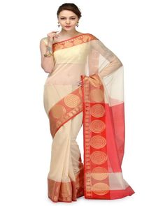 Beige Cotton Banarasi Saree