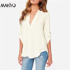MAKIYO Blusas Femininas European Brands Vintage Women Ethnic Shirts Fashion Casual Apricot 3/4 Sleeve High Low Blouse #7