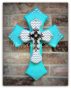 Wall Cross - Wood Cross - X-Small - Turquoise Damask with Gray and White Chevron Wooden Crosses, Crosses Decor, Wall Crosses, Painted Crosses, Mosaic Crosses, Cross Door Hangers, Rustic Cross, Cross Country, Damask Decor