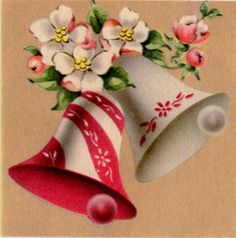 Vintage Christmas Bells & Dogwood