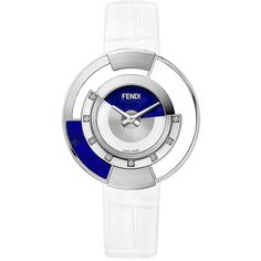 Fendi embellished Policromia watch ($3,000) ❤ liked on Polyvore featuring jewelry, watches, white, white costume jewelry, tri color jewelry, costume jewelry, white dial watches and wrap jewelry
