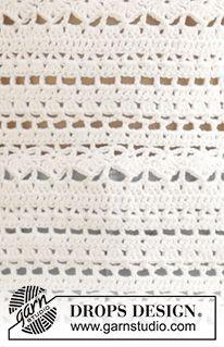 """""""Seashore Bliss Top"""" by Drops Design - Crochet free pattern & diagram - Size S-XXXL Crochet Sock Pattern Free, Crochet Stitches Patterns, Stitch Patterns, Free Pattern, Knitting Patterns, Free Crochet, Pull Crochet, Gilet Crochet, Crochet Shawl"""