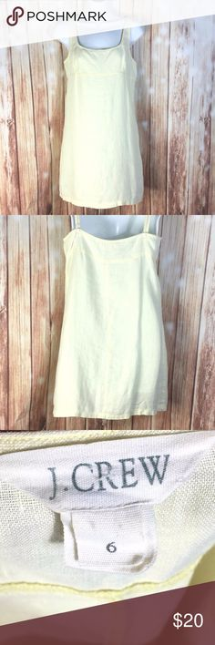 "J CREW Yellow Linen Spaghetti Strap Short Sundress Material: 100% Linen Condition: Pre-Owned, Great Condition, No Flaws.   Measurements (laying Flat)  *Measurements are approximate and for reference only*  Long: 31"" Sleeve: Strapless  Armpit to Armpit: 16"" Hem:  20""    Please note that slight color difference should be acceptable due to the light and screen.  Check measurements to insure fit.   BIN6-232 J. Crew Dresses Mini"