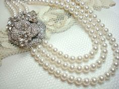 Swarovski white pearl bridal necklace with by treasures570 on Etsy, $120.00