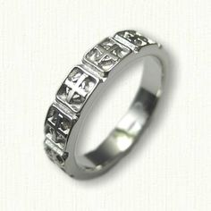 14kt White Gold Celtic Cross Wedding Band (no rails) - straight edges