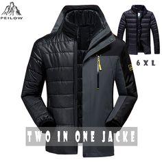 62f04fe53 US $34.31 25% OFF|PEILOW Winter jacket men fashion 2 in 1 outwear thicken  warm parka coat women`s Patchwork waterproof hood men jacket size M~6XL-in  Down ...