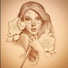 Fun times ahead, love doing Chicano style stuff Chicanas Tattoo, Tiki Tattoo, Clown Tattoo, Inca Tattoo, Tattoo Flash, Chicano Drawings, Tattoo Drawings, Body Art Tattoos, Sleeve Tattoos