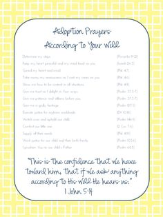 Adoption prayers {free printable}