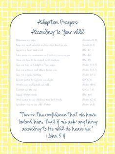 Adoption prayers {free printable}