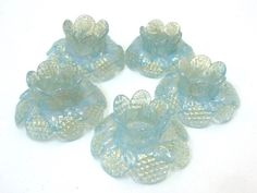 "Murano Glass Chandelier Flower Light Opaline Blue 24K Gold Lot of Five (5) 2"" Italian Crystal Flower Prisms Chandelier Lighting Supply by donDiLights on Etsy"