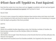 @font-face-off: Typekit vs. Font Squirrel