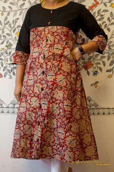 Nb Kalamkari Designs, Churidar Designs, Dress Neck Designs, Blouse Designs, Saree Painting Designs, Kurtha Designs, Salwar Pattern, Kalamkari Dresses, Kurta Neck Design