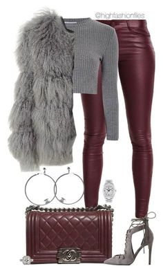 """""""Ox Blood"""" by highfashionfiles ❤ liked on Polyvore featuring Chanel, Kendall + Kylie, Glamorous, Chloé and Rolex"""
