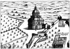 Santa Maria della Consolazione - early print - attributes the design to Bramante (Todi)