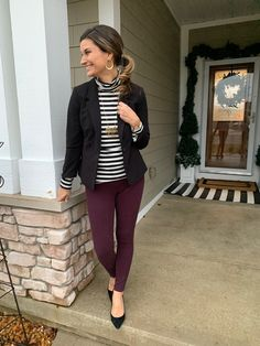 blazer, burgundy pants, black white stripe shirt Source by blazer outfit work Casual Work Outfits, Business Casual Outfits, Work Attire, Stylish Outfits, Burgundy Pants Outfit, Black Blazer Outfits, Black Cardigan Outfit, Colored Jeans Outfits, Turtleneck Outfit