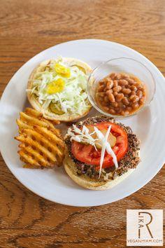 vegan farmhouse veggie burger - eggplant, portobello mushroom, scallions, parsley, vegan cheese, bread crumbs & seasonings
