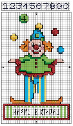 Free Cross Stitch Chart | Clown Birthday Card