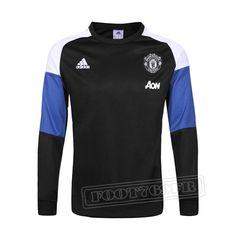Promo:Le Meilleur Du Nouveau Training Sweatshirt Manchester United Noir/Bleu/Blanc 2016 2017 Slim Personnalise
