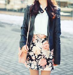 floral skirt and leather jacket