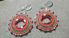 summer colours, neon seed bead, brick stitch, hoop earrings with czech glass firepolish beads by Pinky Lane Designs www.facebook.com/PinkyLaneDesigns