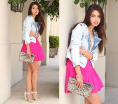lightwash denim jacket, hot pink pleated skirt, sparkle clutch, and mint nails