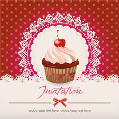 Cute cupcakes vector invitation cards 03