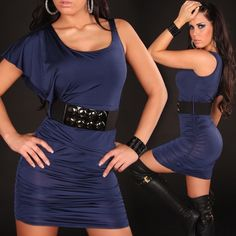 woman sexy fitted blue minidress in single-sleeve with belt