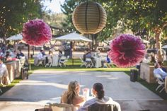 This reception at Bernardo Winery in San Diego is so great! Love the pink and gold decor! Photo by @britjaye