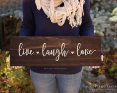Live Laugh Love, Live Laugh Love Sign, Quote Signs, Home Decor, Wall Decor, Gift for Her, Gifts for Mom, Custom Wall Plaque (GP1075)