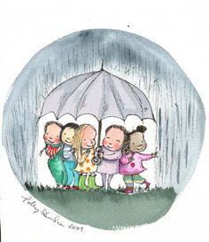 Bwrw Glaw: Children's Book Illustration by Polly Dunbar. Friends sharing an umbrella on a dreary day. Sweet Drawings, Pretty Drawings, Umbrella Art, Under My Umbrella, Childrens Umbrellas, Childrens Books, Old Paper Background, Rain Art, Children's Book Illustration