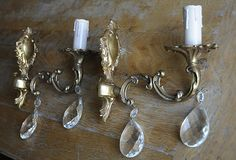 New Price Pair of French Gilt and Crystal Wall by foreverfrench, €76.00