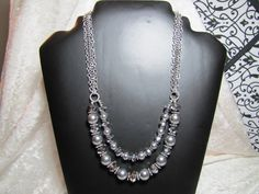 Pearl and Crystal vintage inspired double strand necklace by Jewels by Jules, $48.00