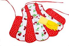Juicy bright red cherries make this one of our most popular apron sets!All our oilcloth aprons are waterproof and stain resistant.Oilcloth Fabric wipes clean with a damp cloth!