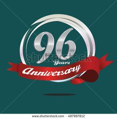 96 years silver anniversary logo with silver ring composition and red ribbon. anniversary logo for birthday, celebration, wedding and party