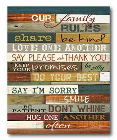 Love this 'Our Family Rules' Wrapped Canvas on #zulily! #zulilyfinds