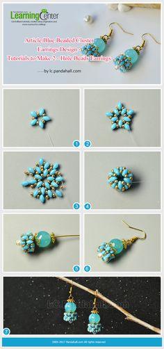 #Beebeecraft #Blue #Beaded #ClusterEarrings Design---Tutorials-to-Make-2---Hole-Beads-Earrings