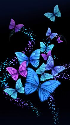 Wallpaper Mania Wallpaper: Butterfly Wallpaper - All About Butterfly Wallpaper Iphone, Butterfly Artwork, Butterfly Background, Butterfly Pictures, Purple Butterfly, Butterfly Flowers, Cellphone Wallpaper, Galaxy Wallpaper, Beautiful Butterflies