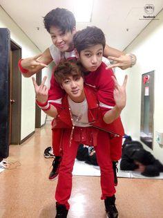 Jimin, Jung Kook & Jin at Music Bank, backstage