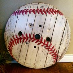Cable spool end turned giant baseball! Cable spool end turned giant baseball! Cable spool end turned giant baseball! Cable spool end turned giant baseball! Wire Spool Tables, Cable Spool Tables, Wooden Cable Spools, Wood Spool, Cable Spool Ideas, Wooden Spool Projects, Spool Crafts, Wood Projects, Woodworking Projects