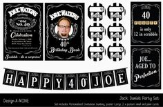Jack Daniels Party Set by DesignAMINE on Etsy, $25.00 Set us made up of an…