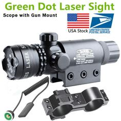 For Rifle Tactical 532nm Scope Green Dot Gun Scope Rail & Remote Switch Hunting