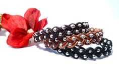 Braided leather with silver beads  #handmade #jewelry #beading