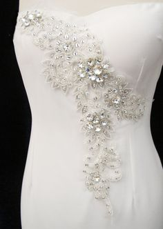 Rhinestone Applique for Sweetheart Neckline Crew Neck by gebridal