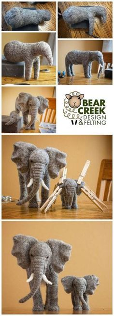Needle Felting Elephants with Teresa Perleberg - Bear Creek Felting Inspirational work in progress pictures of the process Teresa Perleberg goes through designing and sculpting needle felted elephants. Needle Felting Kits, Needle Felting Tutorials, Needle Felted Animals, Wet Felting, Felt Animals, Felt Toys, Soft Sculpture, Felt Art, Felt Ornaments