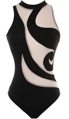 Mesh Cyclone Bodysuit: Features Versace-inspired swirled black lines throughout, mesh insets for a peekaboo effect, beautiful open back crowned by a double-button closure, and a seamless base to finish.