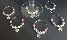 Set of 6 Personalised Wine Glass Charms Hen Night Party Shower Names Purple Gifts Favours Keepsake Butterfly