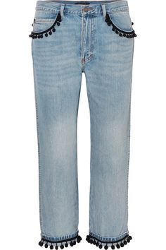 Marc Jacobs   Pompom-embellished slim boyfriend jeans   NET-A-PORTER.COM