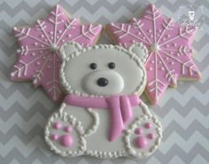 One Dozen 12  Snow and Ice Polar Bear / Winter by DolceDesserts, $38.00