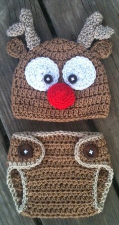 Newborn Baby Boy or Girl Crochet REINDEER Brown RED Nose Beanie Hat Set -n- Diaper Cover Set -- Cute CHRISTMAS Photo Prop. $30.00, via Etsy.